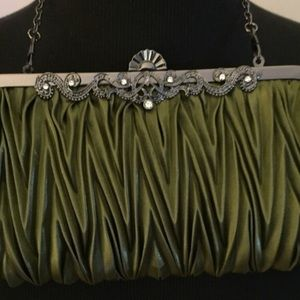 Green satin clutch